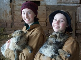 Kids and twin lambs.