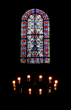 Stained glass in the Cathédrale Saint-Pierre, Geneva.