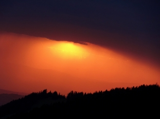 Sunset on the Col de Jaman, Montreux.