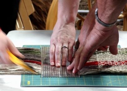 Cutting the fringe.