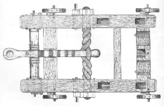Schematic of an historic torsion, Onager, catapult.