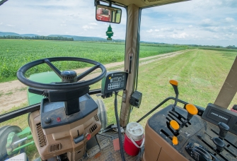 Cab view of the Deere 6400.